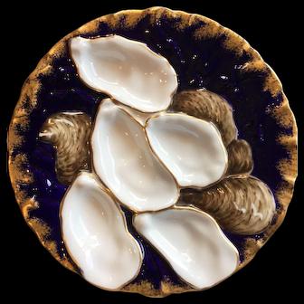 Cobalt Blue & Gold Limoges Oyster Plate Tyndale