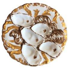 Matte Gold Limoges Oyster Plate