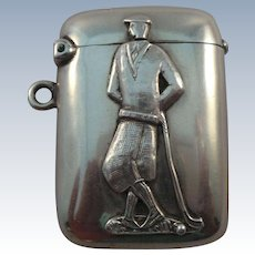 Very Nice Antique Sterling Silver Golfer Match Safe Vesta Case