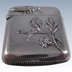 Nice Continental Antique Sterling Silver Bug Vesta Case Circa 1890