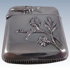 Nice Continental Antique Sterling Silver Bug Vesta Case Circa 1890