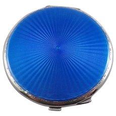 Superb Sterling Silver Blue Guilloche Enamel Powder Compact Birmingham 1935