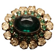 Antique paste brooch, early Victorian, deep emerald paste