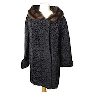 Vintage 50's Black astrakhan and mink coat, ladies