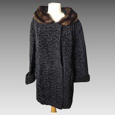Vintage 50's Black astrakhan and mink coat, ladies