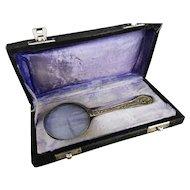 Antique magnifying glass, original case, brass handle