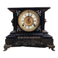 Antique cast iron mantle clock, Ansonia Chester model
