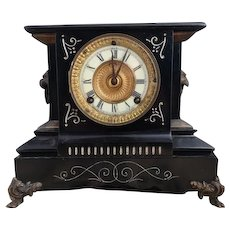 Antique cast iron mantle clock, Ansonia Chester model