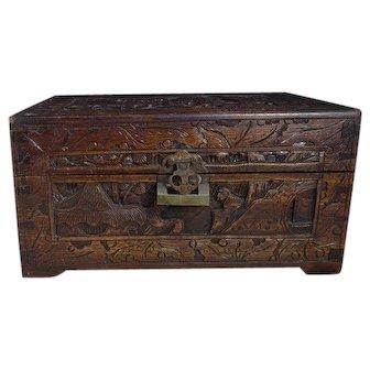 Antique Japanese camphor wood box