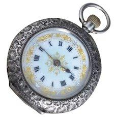 Antique silver fob watch, blue enamel, pocket watch