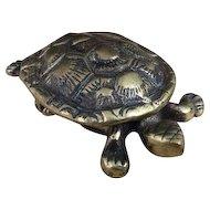 Antique novelty Turtle vesta, 19th century brass table vesta