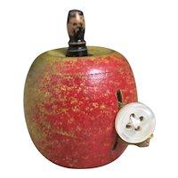 Victorian novelty tape measure, Treen apple