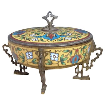 French Antique gilt bronze and champleve enamel pot, Chinoiserie
