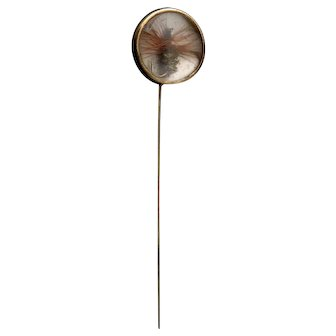 Antique Tiffany stick pin, 18k gold, Essex crystal, fly fishing