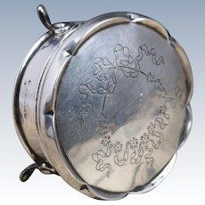 Antique sterling silver trinket pot