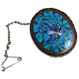 Victorian enamel bird brooch, 9ct yellow gold