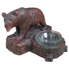 Antique black forest bear figural ashtray, Swiss lime wood