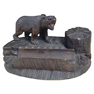 Antique black forest bear inkstand, desk tidy