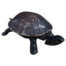 Antique novelty tortoise clockwork bell, late 19th century