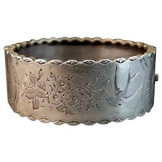Victorian aesthetic silver bangle, swallow