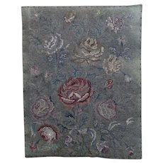 Antique 18th century woolwork tapestry, Roses