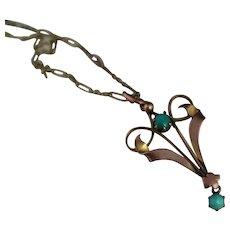 Antique turquoise pendant, 9kt, Art Nouveau necklace