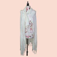 Antique fine silk shawl, cream embroidered