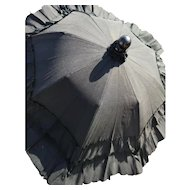 Victorian mourning parasol, childs extending parasol