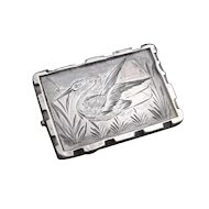 Victorian aesthetic silver heron brooch