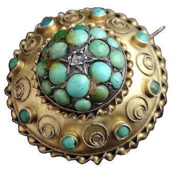Victorian turquoise and diamond locket brooch, 15kt