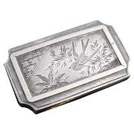 Antique Victorian silver Swallow brooch, aesthetic era