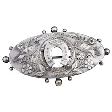 Victorian silver aesthetic brooch, swallows and horseshoe