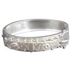 Victorian silver buckle bangle, aesthetic engraved