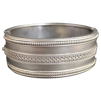 Antique Victorian silver aesthetic cuff bangle