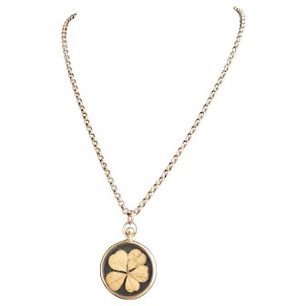 Antique 9kt rose gold shamrock pendant and belcher chain, Victorian necklace