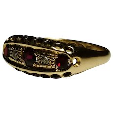 Antique diamond and garnet ring, 18ct / 18kt gold, 1915 Chester hallmarked