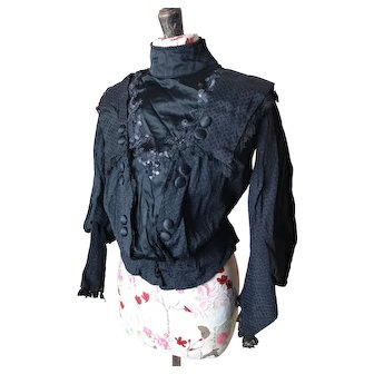 Victorian mourning bodice, antique blouse