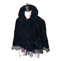 Antique Victorian black silk velvet Capelet