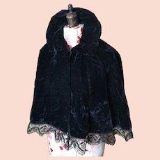Antique Victorian black silk velvet Capelet