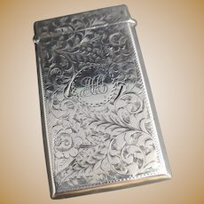 Antique sterling silver card case, chased