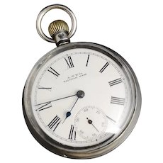 Antique silver Waltham pocket watch, Victorian working, top wind