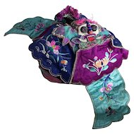 Antique Chinese silk festival hat, Qing Dynasty