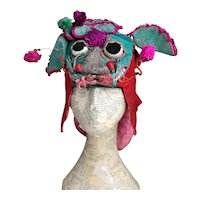 Antique Chinese silk dragon hat with koi
