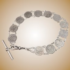 Antique silver coin Albert chain, threepenny