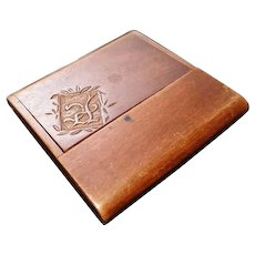 Antique wooden calling card case, Treen