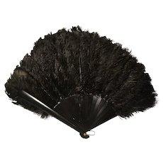 French antique hand fan, black ostrich feather boudoir fan