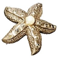 Art Deco starfish brooch, vintage sterling silver and marcasite brooch
