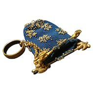 French antique evening purse, gilt and beadwork, belle epoque, dove of peace