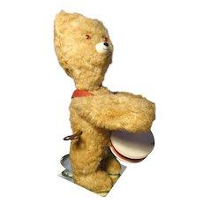 Fabulous and fun vintage 1940's Russian clockwork bear, vintage drummer teddy bear