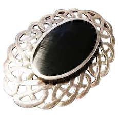 1920's Art Deco sterling silver brooch, large cabochon French jet, mourning style brooch